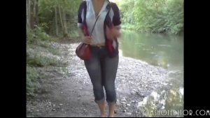Busty amateur rubbing on her ass in the sea church