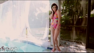 Horny girls like to play with various sex toys by the pool, until they have orgasms