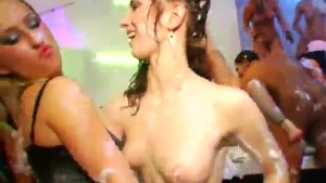 Hot amateur brunette jerking her multiple cocks and getting cum on her face